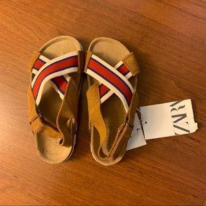 NWT Zara Kids Leather Sandals-Size 8